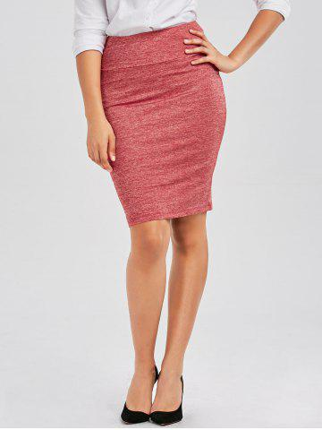 Discount Formal Knee Length Pencil Skirt - M RED Mobile