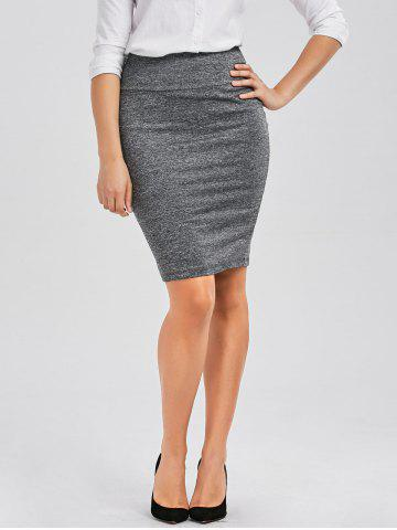 Formal Knee Length Pencil Skirt - Gray - S