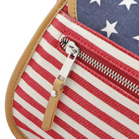 Discount July 4th Patriotic American Flag Canvas Crossbody Bag - BLUE  Mobile