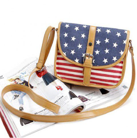 Shops July 4th Patriotic American Flag Canvas Crossbody Bag - BLUE  Mobile