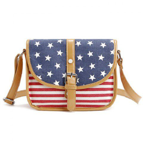 Store July 4th Patriotic American Flag Canvas Crossbody Bag - BLUE  Mobile