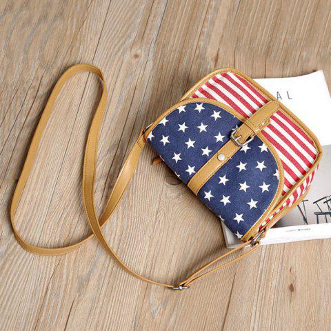 Online July 4th Patriotic American Flag Canvas Crossbody Bag - BLUE  Mobile