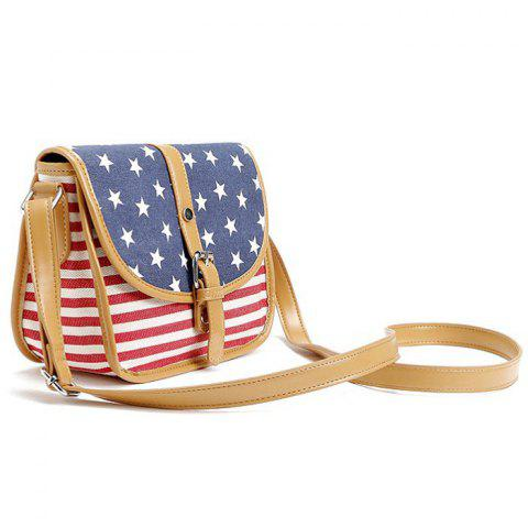 Sale July 4th Patriotic American Flag Canvas Crossbody Bag - BLUE  Mobile