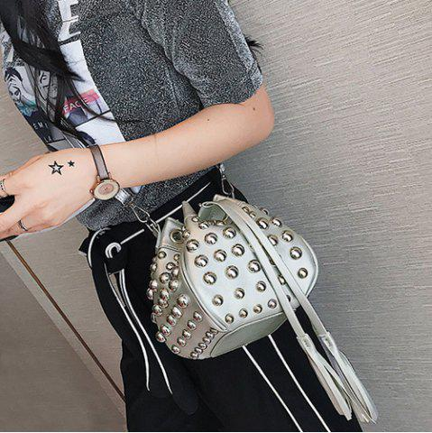 Discount Studded Tassels Bucket Bag - SILVER  Mobile