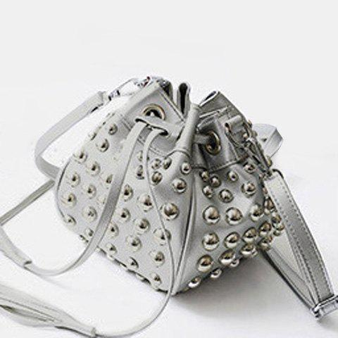 Online Studded Tassels Bucket Bag - SILVER  Mobile