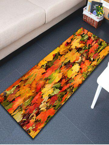 New 3D Maple Leaf Print Flannel Skidproof Bathroom Rug - W16 INCH * L47 INCH YELLOW ORANGE Mobile