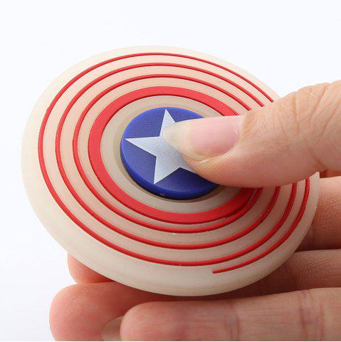 Fashion Glow In The Dark Star Pattern Round Silicone Fidget Spinner - RED  Mobile