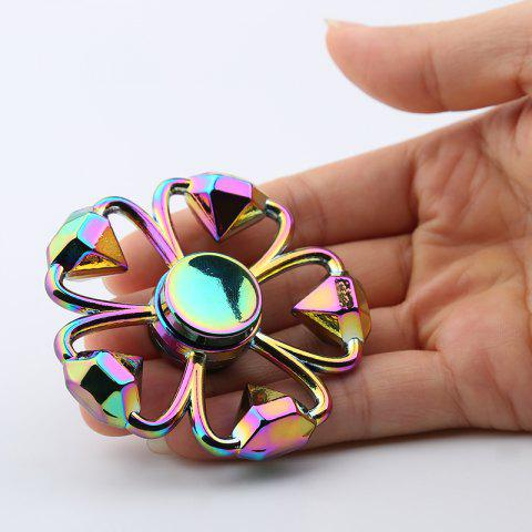 Fashion Colorful Diamond Shape Flower Fidget Metal Spinner Anti-stress Toy COLORMIX