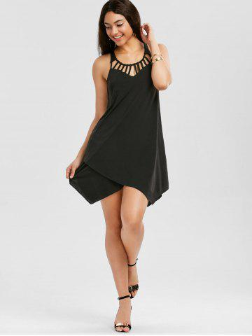 Discount Cut Out Overlap Sleeveless Handkerchief Dress - 2XL BLACK Mobile