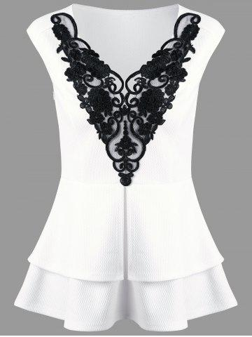 Discount Lace Applique Layered Peplum Top WHITE 2XL