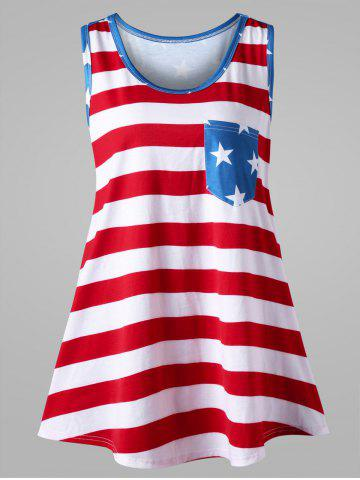 Plus Size Bowknot Embellished American Flag Tank Top Multicolore XL
