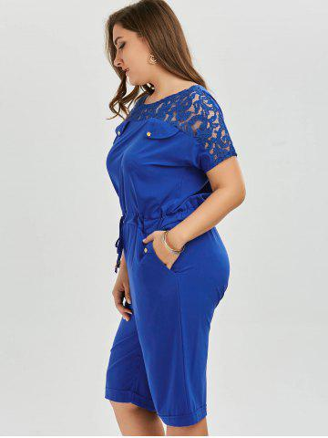 Unique Plus Size Lace Up Short Sleeve Romper - 4XL BLUE Mobile