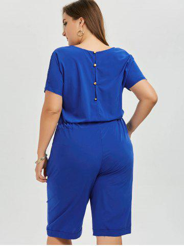 Shops Plus Size Lace Up Short Sleeve Romper - 4XL BLUE Mobile