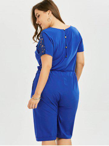 Fashion Plus Size Lace Up Short Sleeve Romper - 4XL BLUE Mobile