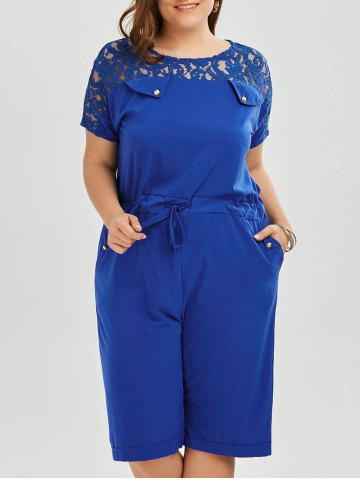Store Plus Size Lace Up Short Sleeve Romper - 4XL BLUE Mobile
