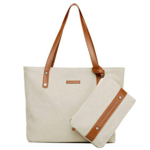 Unique Canvas Tote with Zipper Wristlet Purse OFF-WHITE