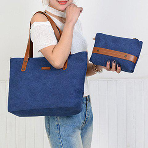 Sale Canvas Tote with Zipper Wristlet Purse - BLUE  Mobile