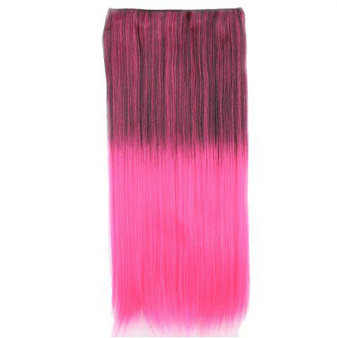Ombre Short Straight Clip In Hair Extensions Noir / Rose