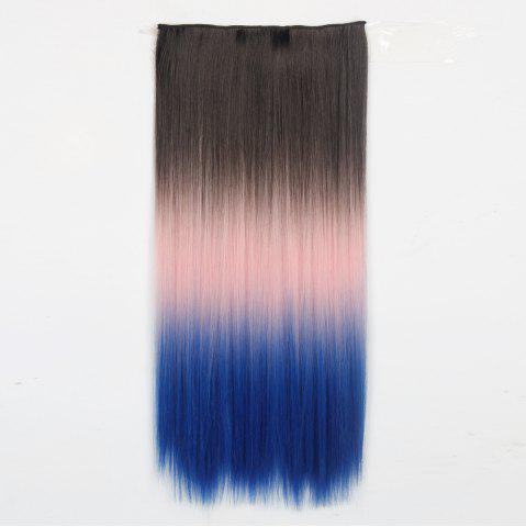 1Pcs Long Silky Straight Multi Color Ombre Clip In Hair Extensions Bleu et Rose