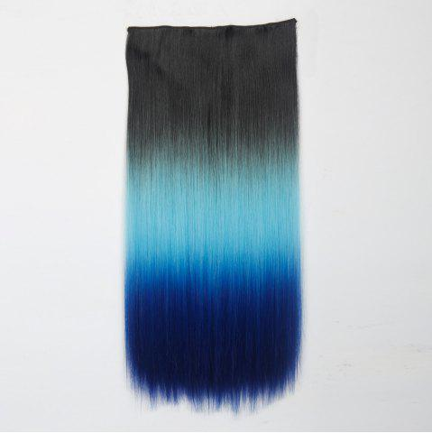 Shop 1Pcs Long Silky Straight Multi Color Ombre Clip In Hair Extensions BLACK/BLUE