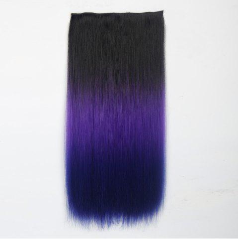 Hot 1Pcs Long Silky Straight Multi Color Ombre Clip In Hair Extensions BLACK/PURPLE
