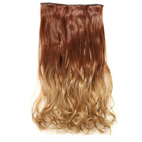 1Pcs Wavy Medium Two Tone Clip In Hair Extensions Gingembre Brun /