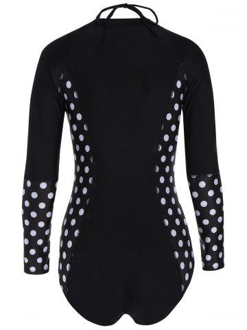 Shops One Piece Zip Polka Dot Long Sleeve Swimsuit - L BLACK Mobile