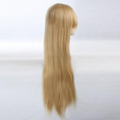 Trendy Ultra Long Side Bang Layered Glossy Straight Synthetic Naruto Cosplay Anime Wig - LIGHT YELLOW  Mobile