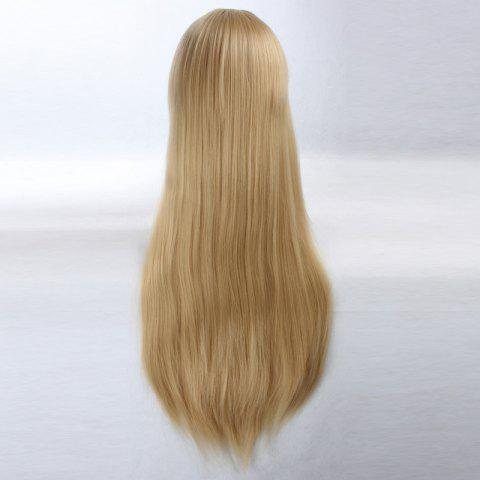 Cheap Ultra Long Side Bang Layered Glossy Straight Synthetic Naruto Cosplay Anime Wig - LIGHT YELLOW  Mobile
