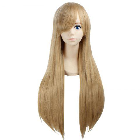 Fancy Ultra Long Side Bang Layered Glossy Straight Synthetic Naruto Cosplay Anime Wig - LIGHT YELLOW  Mobile