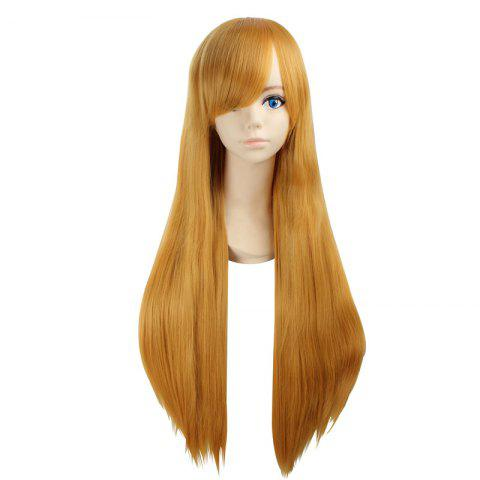 Trendy Ultra Long Side Bang Layered Glossy Straight Synthetic Naruto Cosplay Anime Wig YELLOW