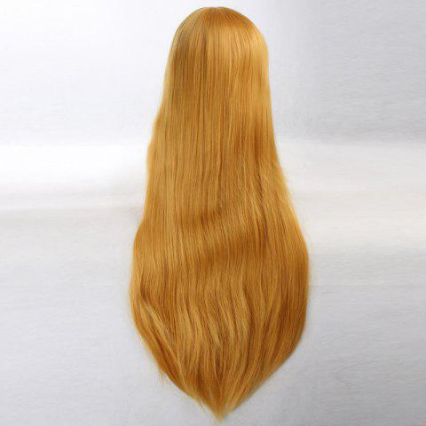 Outfit Ultra Long Side Bang Layered Glossy Straight Synthetic Naruto Cosplay Anime Wig - YELLOW  Mobile