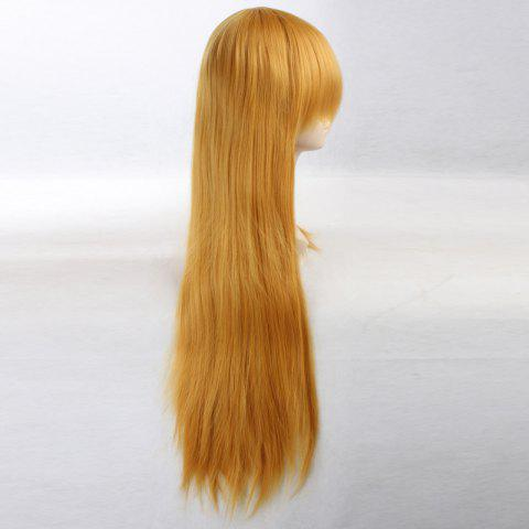 Cheap Ultra Long Side Bang Layered Glossy Straight Synthetic Naruto Cosplay Anime Wig - YELLOW  Mobile