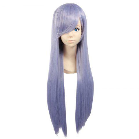 Cheap Ultra Long Side Bang Layered Glossy Straight Synthetic Naruto Cosplay Anime Wig PURPLE