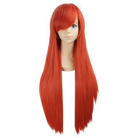 Side Bang Ultra Long Layered Glossy Straight Synthetic Naruto Cosplay Anime Wig Perle Kumquat