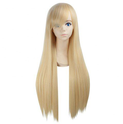 Online Ultra Long Side Bang Layered Glossy Straight Synthetic Naruto Cosplay Anime Wig SUNFLOWER