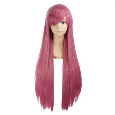 Ultra Long Side Bang Layered Glossy Straight Synthetic Naruto Cosplay Anime Wig Carmine Rouge