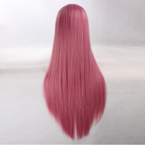Hot Ultra Long Side Bang Layered Glossy Straight Synthetic Naruto Cosplay Anime Wig - CARMINE RED  Mobile