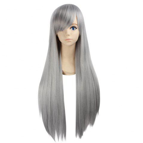 Side Bang Ultra Long Layered Glossy Straight Synthetic Naruto Cosplay Anime Wig Argent Gris