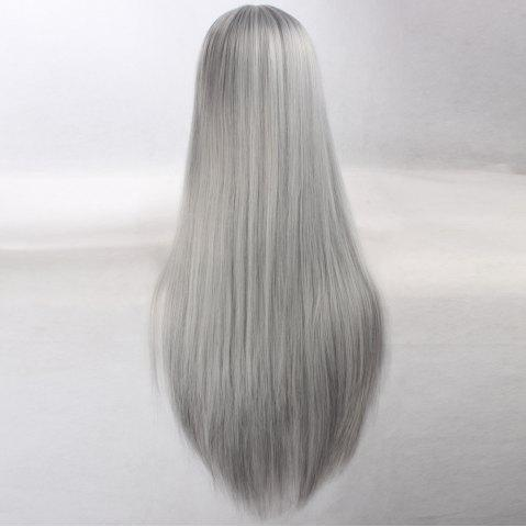 Best Ultra Long Side Bang Layered Glossy Straight Synthetic Naruto Cosplay Anime Wig - SILVER GREY  Mobile
