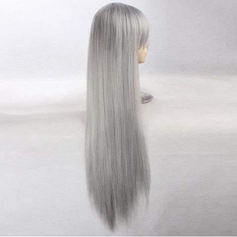 Hot Ultra Long Side Bang Layered Glossy Straight Synthetic Naruto Cosplay Anime Wig - SILVER GREY  Mobile