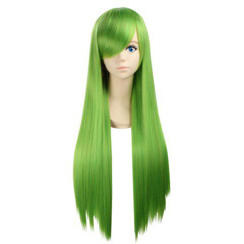 Cheap Ultra Long Side Bang Layered Glossy Straight Synthetic Naruto Cosplay Anime Wig - BRIGHT GREEN  Mobile
