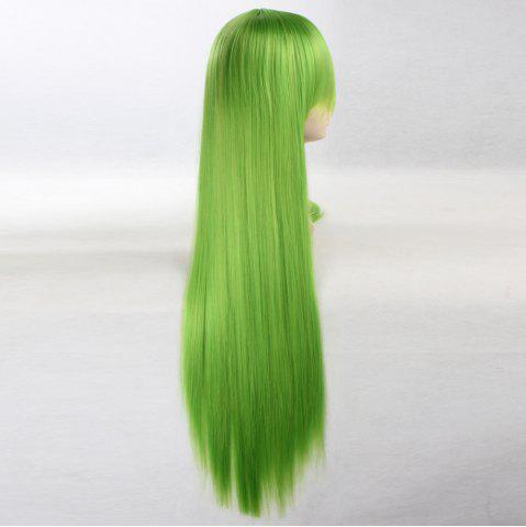Outfit Ultra Long Side Bang Layered Glossy Straight Synthetic Naruto Cosplay Anime Wig - BRIGHT GREEN  Mobile