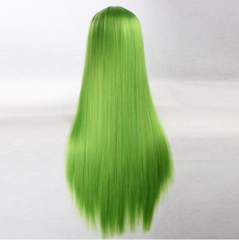 Chic Ultra Long Side Bang Layered Glossy Straight Synthetic Naruto Cosplay Anime Wig - BRIGHT GREEN  Mobile