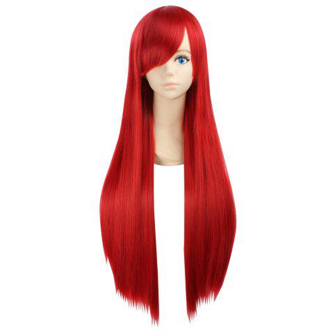 Side Bang Ultra Long Layered Glossy Straight Synthetic Naruto Cosplay Anime Wig Rouge