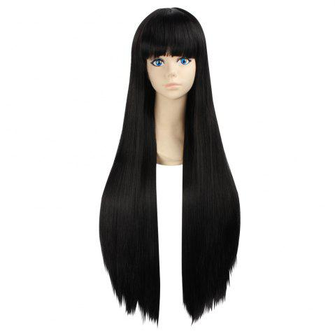 Ultra Long Side Bang Layered Glossy Straight Synthetic Naruto Cosplay Anime Wig Noir