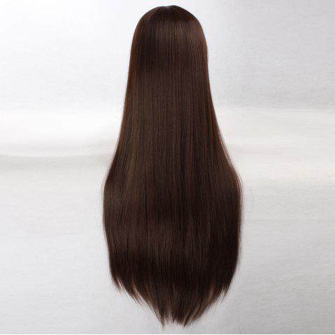 Discount Ultra Long Side Bang Layered Glossy Straight Synthetic Naruto Cosplay Anime Wig - DEEP BROWN  Mobile