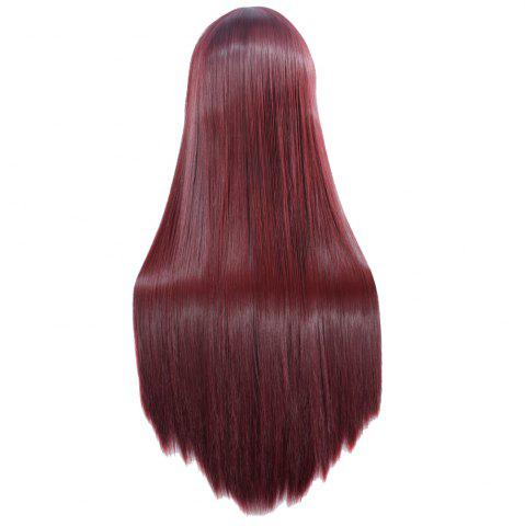 Affordable Ultra Long Side Bang Layered Glossy Straight Synthetic Naruto Cosplay Anime Wig - BURGUNDY  Mobile
