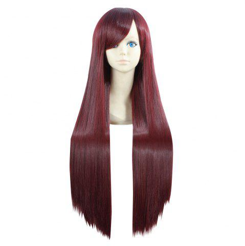 Chic Ultra Long Side Bang Layered Glossy Straight Synthetic Naruto Cosplay Anime Wig - BURGUNDY  Mobile
