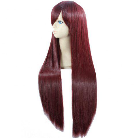 Discount Ultra Long Side Bang Layered Glossy Straight Synthetic Naruto Cosplay Anime Wig - BURGUNDY  Mobile